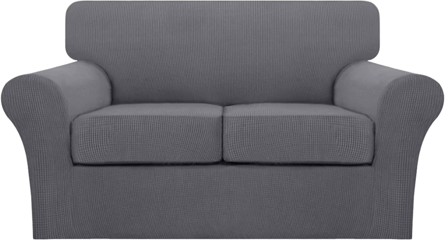 Turquoize3 Piece Stretch Sofa Covers Loveseat for 2 Cushion Couch Covers Slipcovers Including Base Cover and 2 Individual Seat Cushion Covers, Thick Jacquard Customized Fitting (Medium,Gray)