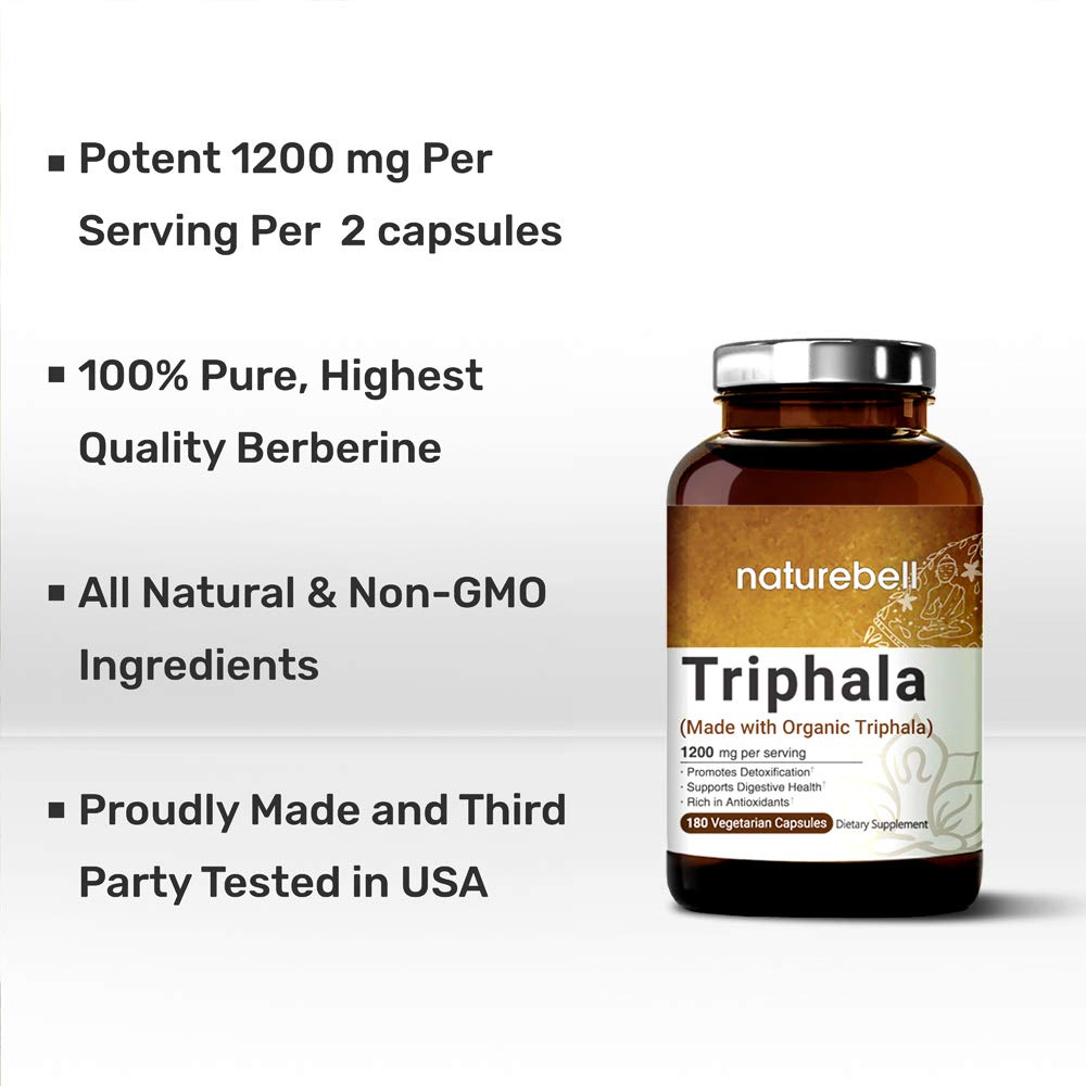 Maximum Strength Organic Triphala 1200mg, 180 Capsules, Powerfully Supports Digestive Health & Detoxification, Rich in Antioxidants & Vitamins, Non-GMO, Vegan Friendly and Made in USA