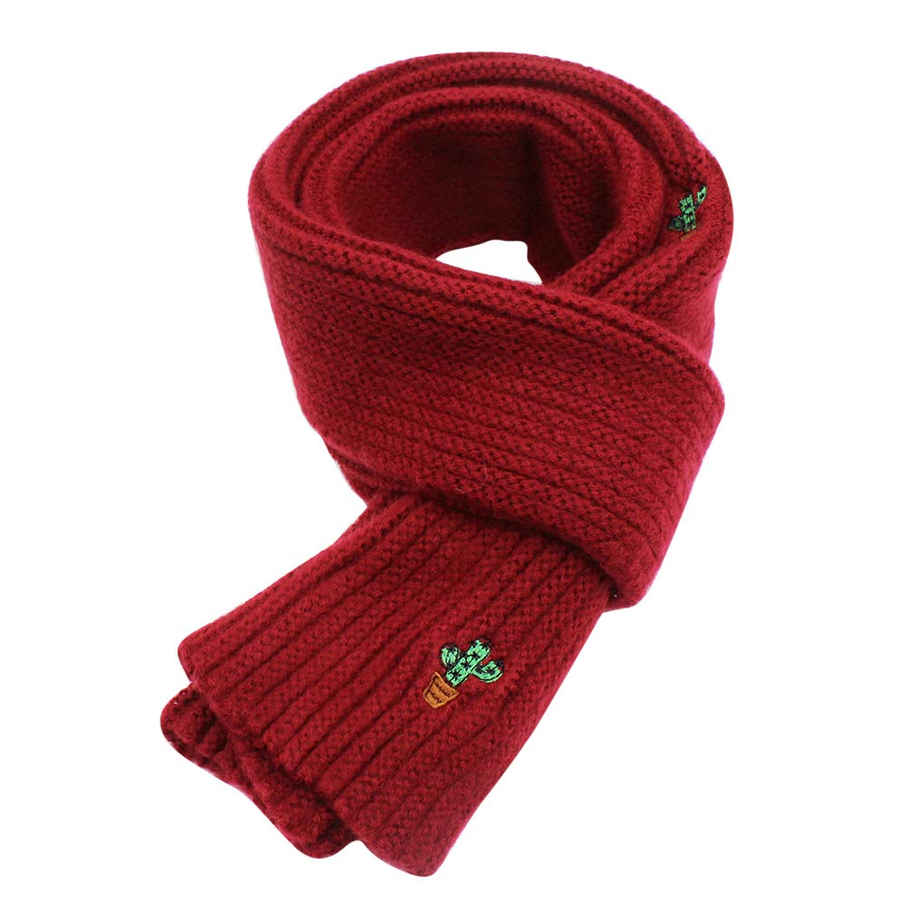 Soft Wool Knitted Scarf Toddler Solid Color Neck Warmer Thick Shawl for Unisex Kids Bolley Joss