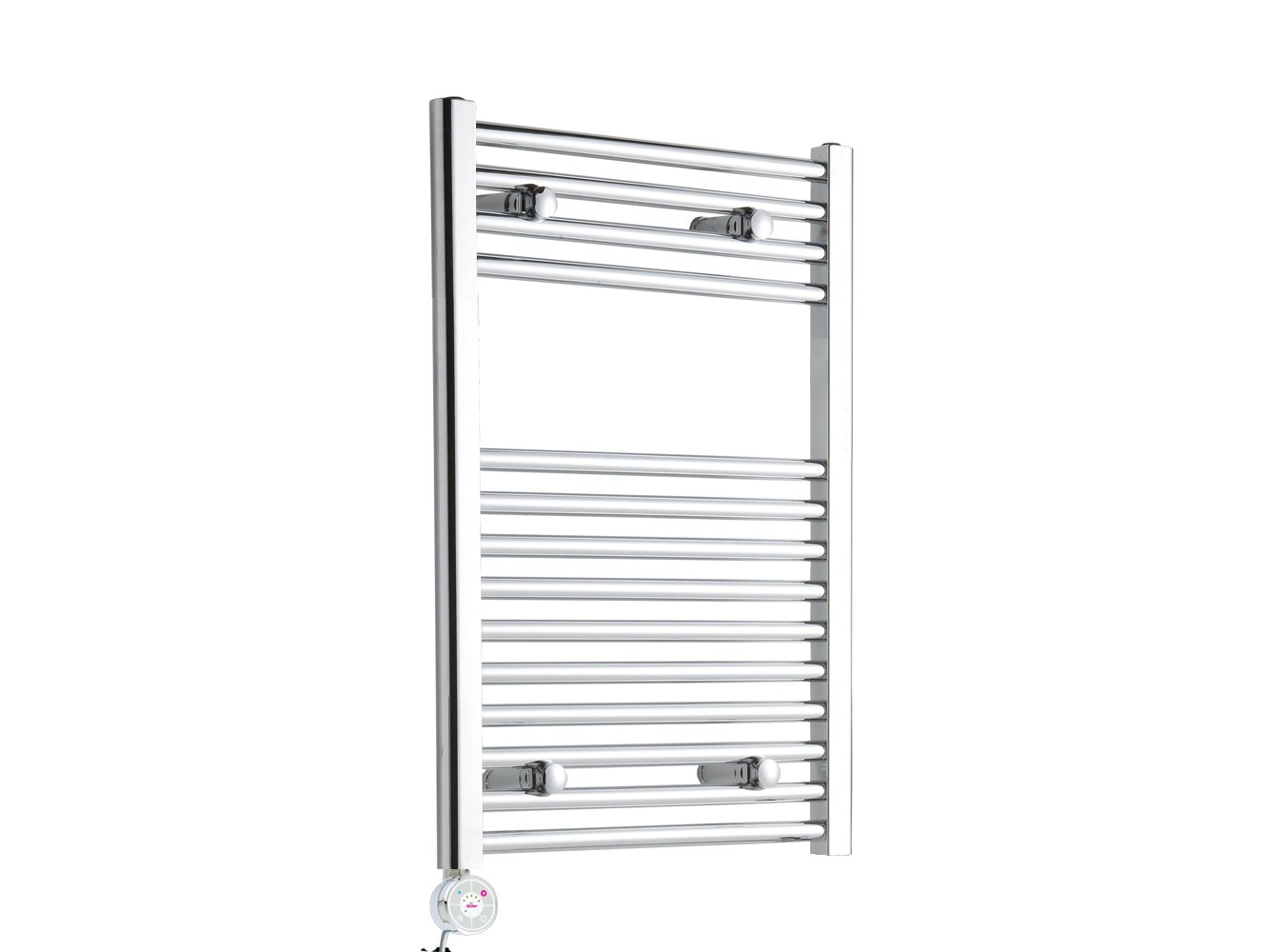 Chrome Straight Bathroom Thermostatic Electric Heated Towel Rail 800mm high x 500mm wide Geyser Ltd