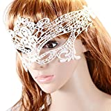Happy Hours - Fashion Sexy Hollow Lace Eyes Mask for Fancy Dress Halloween Masquerade Party Bar Pub(White)