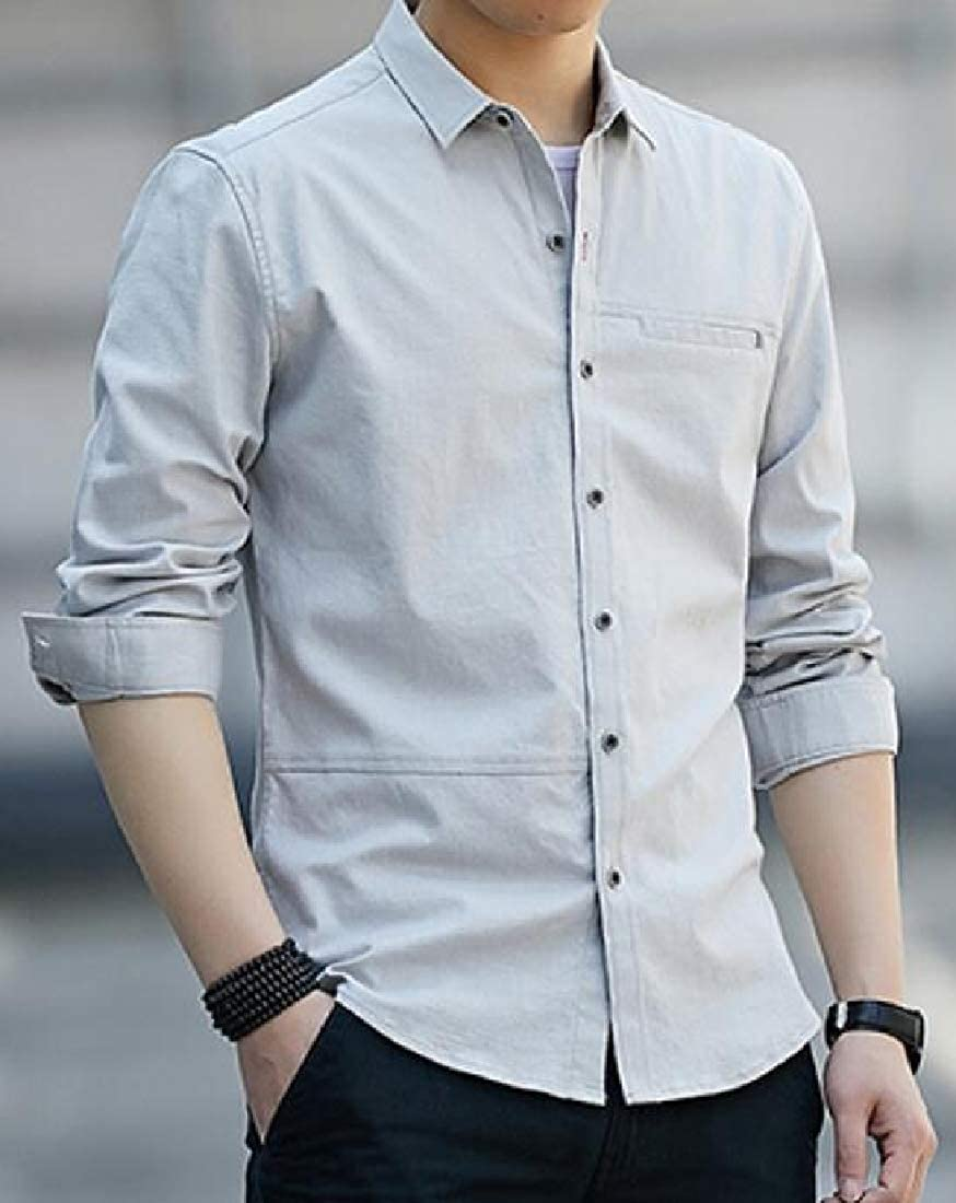 Sweatwater Mens Slim Fit Solid Color Button-Down Casual Lapel Long Sleeve Shirts