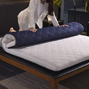 WJH Colchones viscoelásticos de Espesar, Colchón de futón Tatami japonés, Doble Cara Disponible Respirable Antibacteriano Anti-ácaros Sleeping Pad-Azul ...