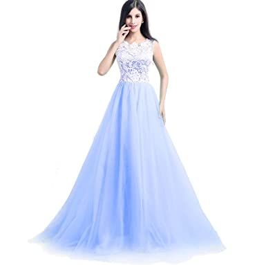 Albrose Straps Bridesmaid Dresses Prom Gowns with Buttons on Back US Size 2 Baby Blue