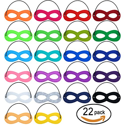 SOTOGO 22 Pieces Superhero Masks Eye Masks Party Masks,Party Favors Half Masks With 22 Different Colors For Party