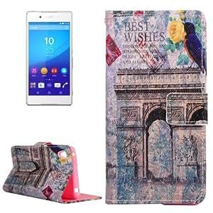 Arch Triumphal Pattern Cross Texture Funda con tapa Holder Case Cover & Card Wallet Clots & para Sony Xperia E3