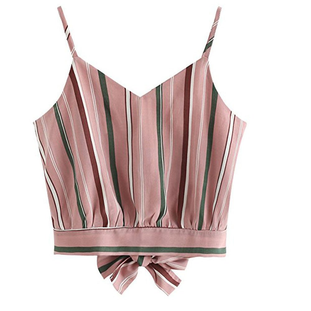 Mlide Women's V-Neck Striped Sleeveless Bow Vest Casual Seft Tie Back Crop Cami Tops Camisole Shirt Vest