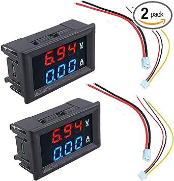 DC 100V 10A Mini Digital Voltmeter Ammeter Blue Red LED Volt Amp Meter Gauge