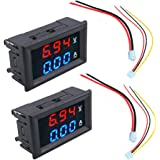 """HiLetgo 2pcs 0.56"""" Digital Voltmeter Ammeter DC 100V 10A Amp Voltage Current Meter Tester 0.56 Inch 3 Bits Blue + Red…"""