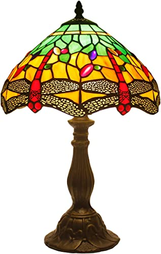 Tiffany Table Lamp W12H18 Inch Green Yellow Stained Glass Shade Crystal Bead Dragonfly Style Anqitue Desk Light S009G WERFACTORY Lamps Living Room Bedroom Coffee Bar Office Study Bedside Craft Gift