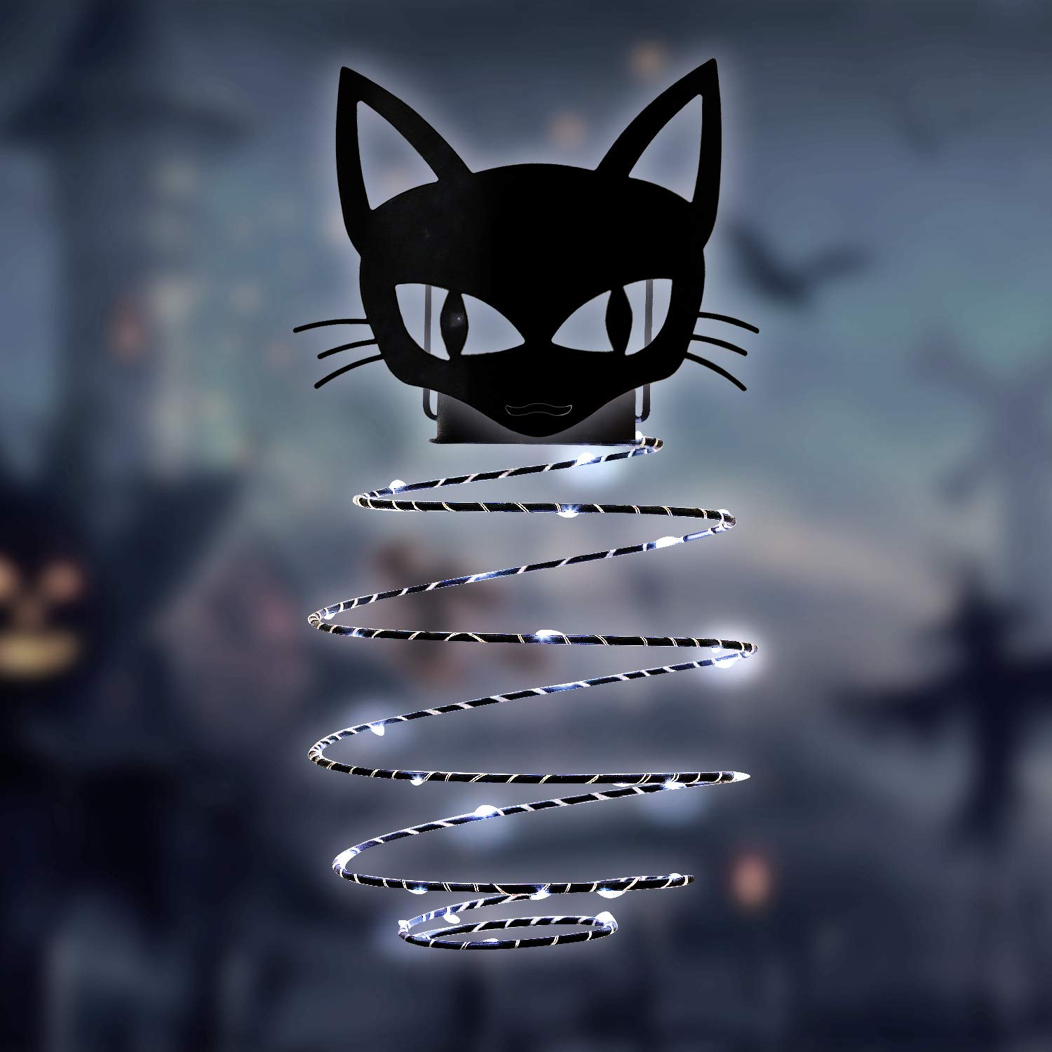 GiveU Black Cat Solar Hanging Portable Lantern Halloween Outdoor Landscape Lamp for Garden, Patio Decoration,11inches