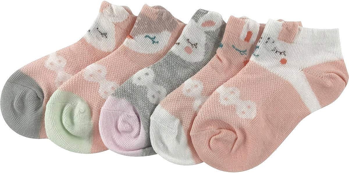 vanberfia Cartoon Baby Girls Boys Ankle Socks Summer Breathable Toddler Low Cut Socks 5 Pairs 2-12T