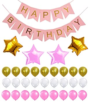 Amazoncom PINK HAPPY BIRTHDAY BANNER DECORATIONS SET Pink and