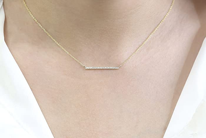 f7cf65ae6846a Image Unavailable. Image not available for. Color  Dainty Diamond Bar  Necklace Diamond Bar Pendant ...