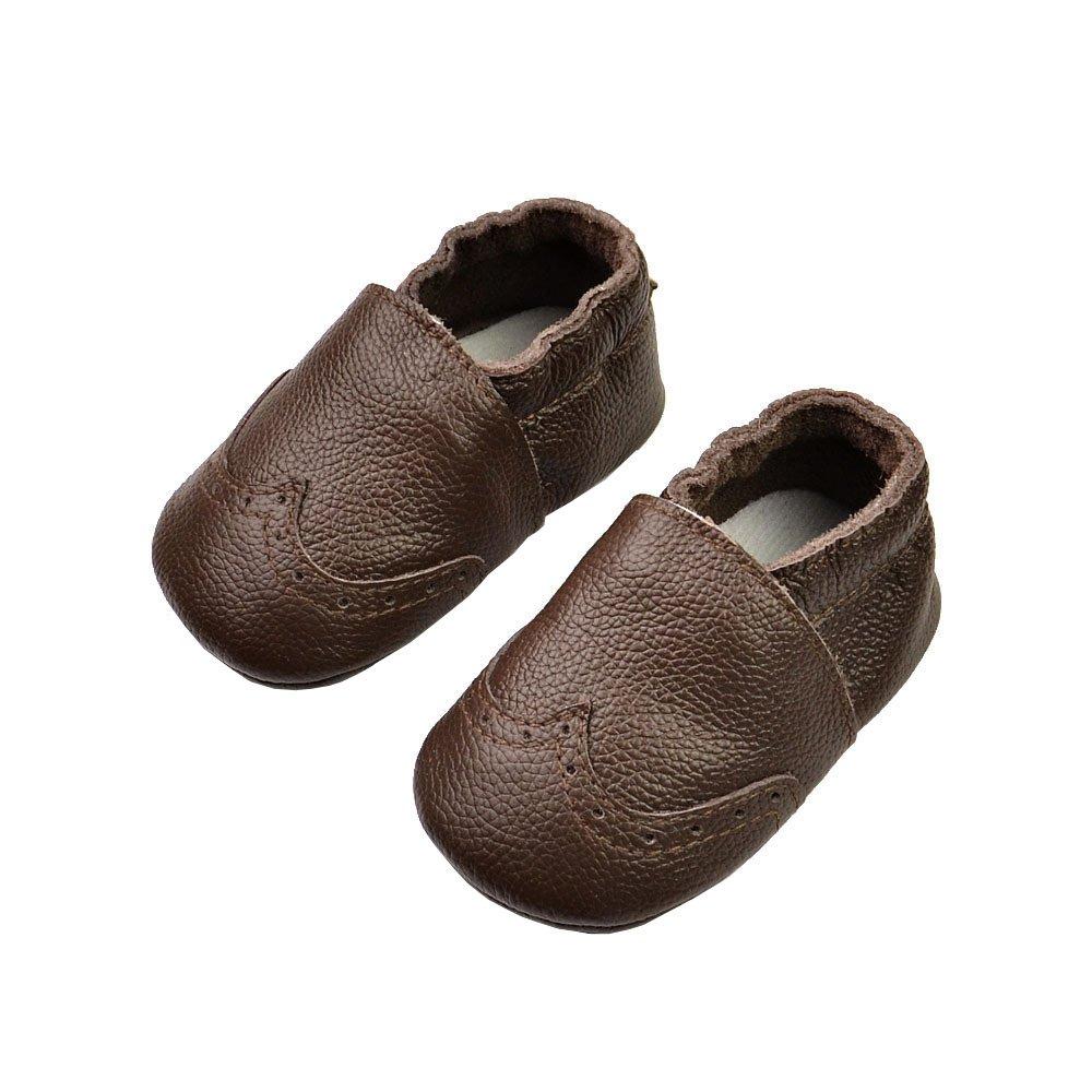 Vesi-Chaussures Bébé Cuir Souple Chaussons Premiers Pas Brogue Respirant pour Garçon Fille Nourrisson Efant Noir Taille S:0-6 Mois