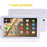 Goldengulf Unlocked 3G Smart Phone Call Phablet Dual Sim Dual Standby Dual Camera Android 4.4 KitKat Tablet PC Google Play Store WIFI Bluetooth-Gold Edge Free Leather Cover