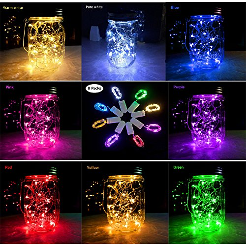 ZZF-LYA 8 Packs Fairy String Lights Silver Wire 7.2ft 20 Led String Lights Battery Operated(included) for Wedding Centerpiece,Party,Table Decorations(8 Colors)
