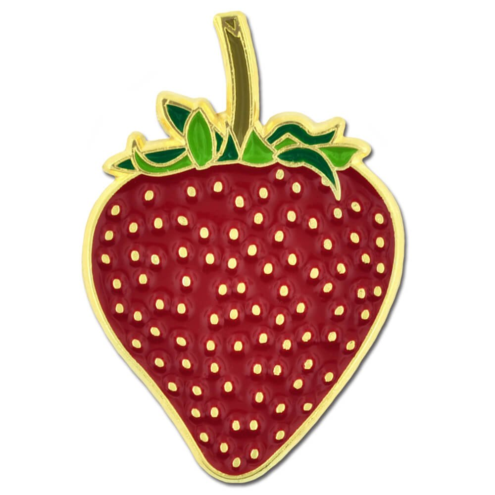 PinMart's Juicy Red Strawberry Fruit Summer Enamel Lapel Pin