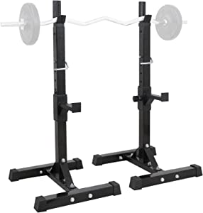 """ZENY Pair of Barbell Bench Press Stands Hight Adjustable 41""""-66"""" Rack Sturdy Steel Squat Dumbbell Racks Stands for Gym/Home Gym Portable, Max Load 550Lbs"""