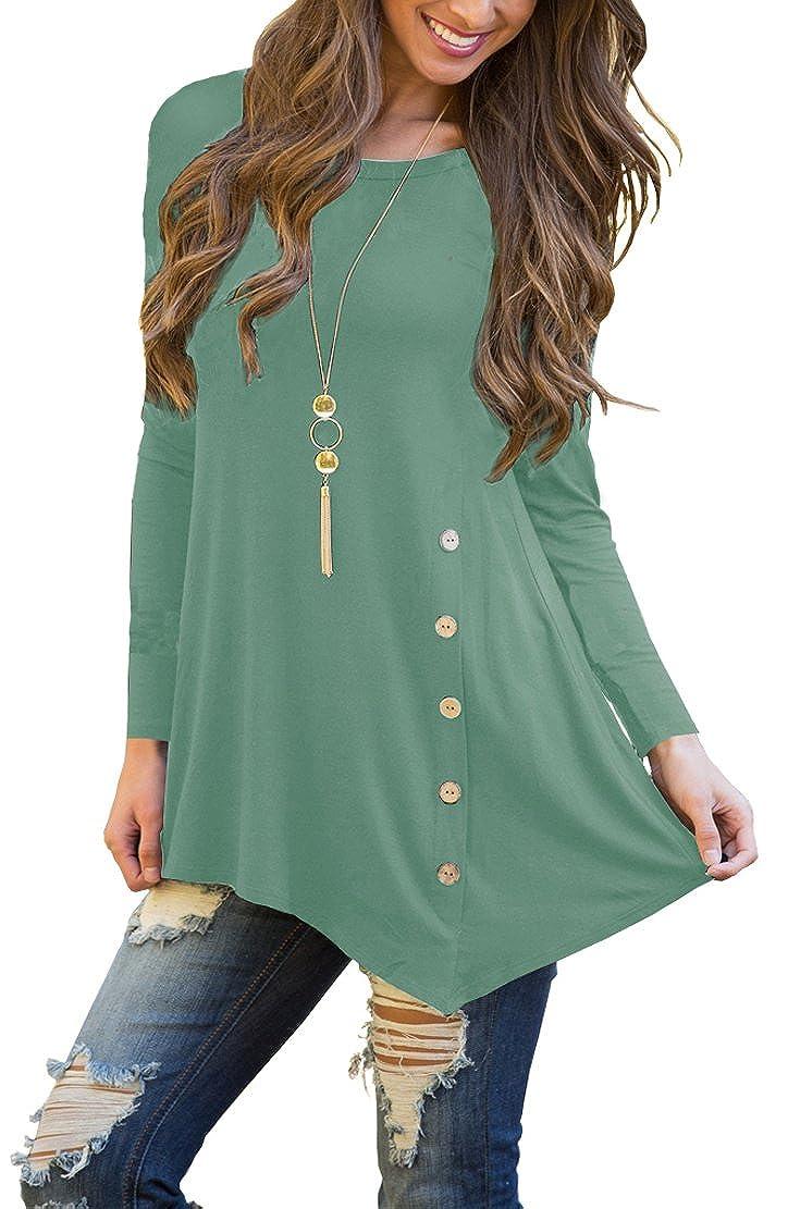 4e383d539a8 POKWAI Women s Long Sleeve Casual Scoop Neck Button Side Shirt Blouse Tunic  Top
