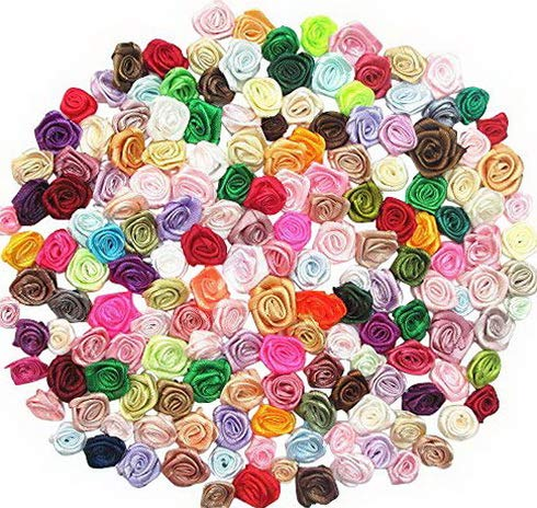 - Mikash 200pcs Mix Lots Satin Ribbon Rose Flowers Sewing Craft Ribbon Bows Wedding Tion | | Model WDDNG - 2002