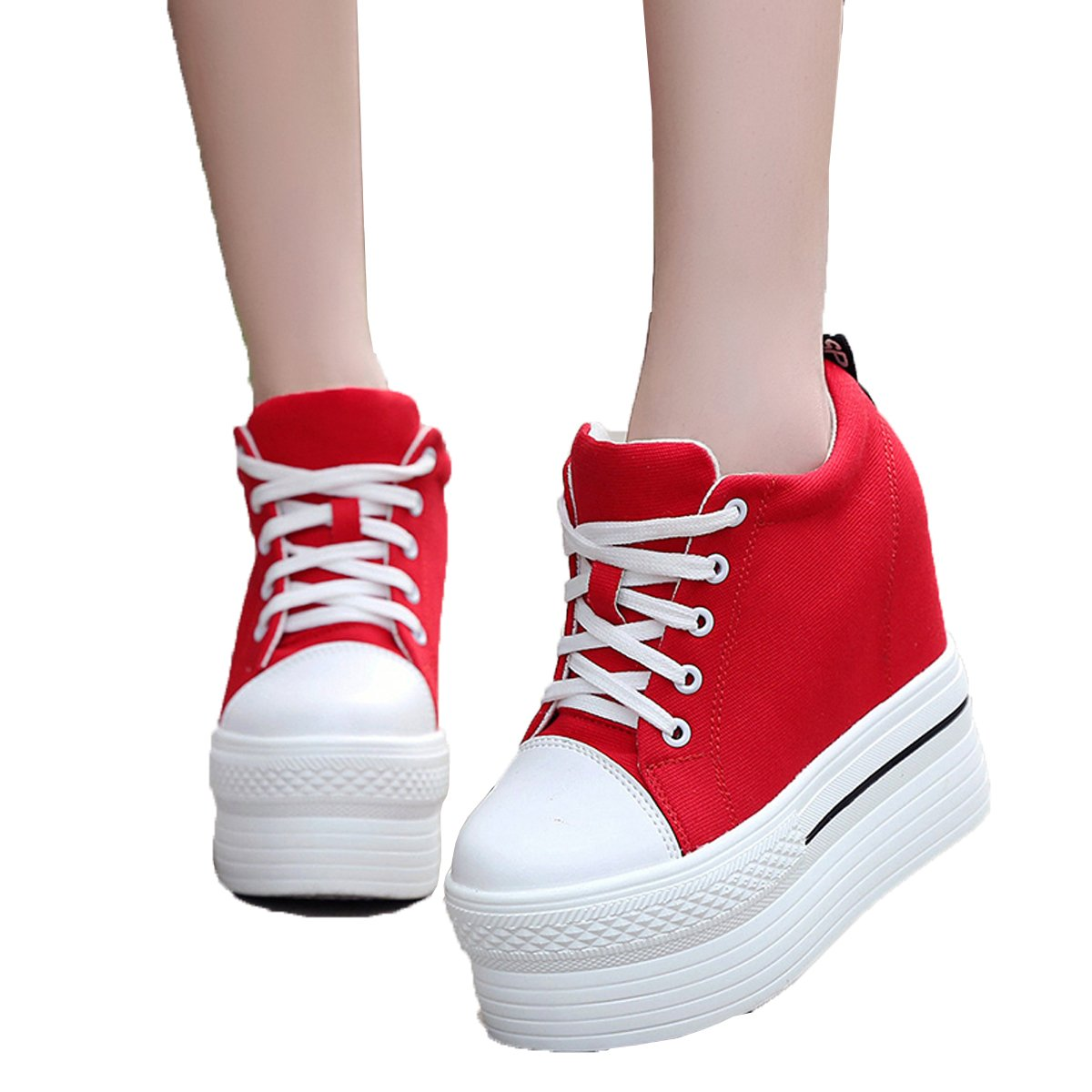 YC WELL Womens Wedge Platform Sneaker Flat Canvas Shoes Lace up Platform Sneakers B01L3JQGMM 5 B(M) US|Red