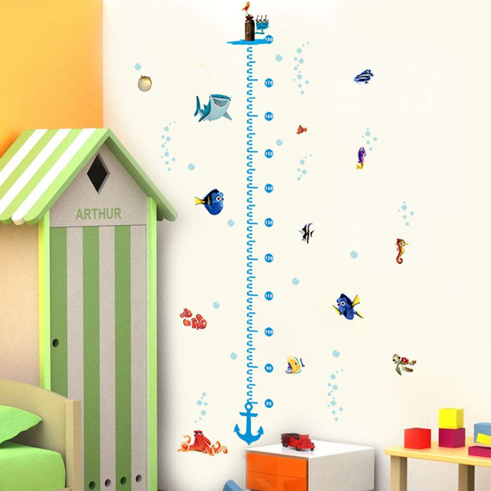 Child Height Wall Sticker DIY Kids Growth Height Measuring Chart Room Decoration for Kids Nursery Bedroom Living Room Removable Wall Decal Freeby Measure Chart Sticker