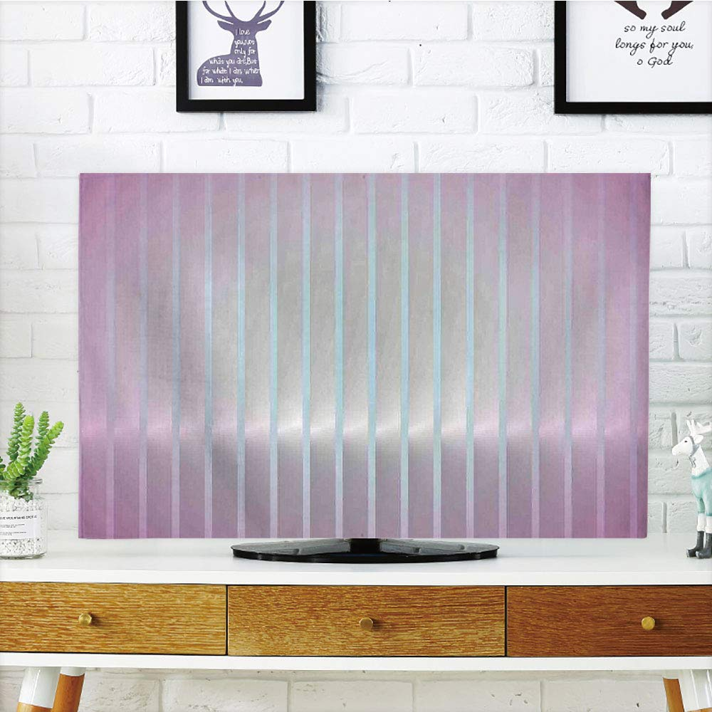 LCD TV Cover Multi Style,Modern Decor,Vertical Wave Like Lines Display in Vibrant Colors Computer Graphic Paint,Dried Rose Blue,Customizable Design Compatible 42'' TV by iPrint (Image #1)