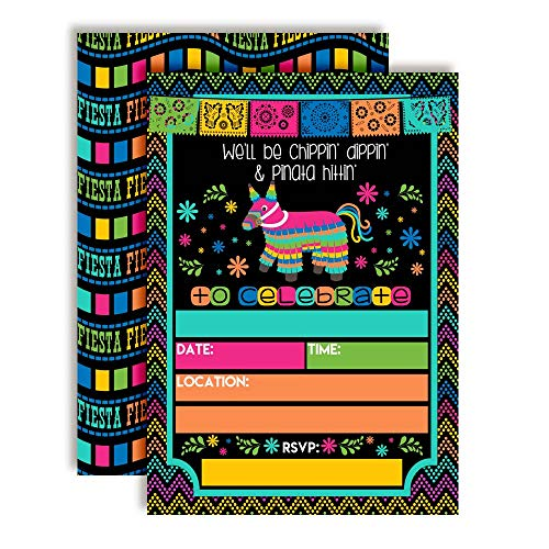 Chippin', Dippin' & Pinata Hittin' Neon Fiesta Birthday Party Invitations, 20 5