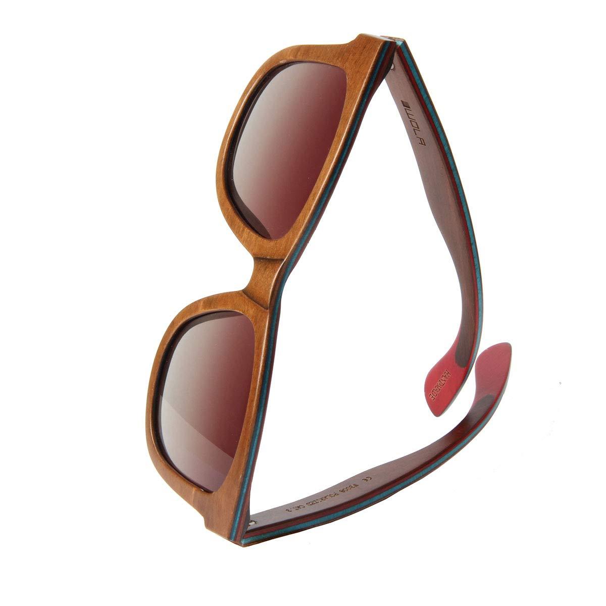 WOLA gafas de sol madera - AIR lentes mujer y hombre unisex, polarizadas UV400 cuadradas estilo