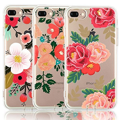 CarterLily iPhone 8 Plus Case, iPhone 7 Plus Case, [3-Pack] Watercolor Flowers Floral Pattern Soft Clear Flexible TPU Back Case for iPhone 7 Plus iPhone 8 5.5'' (Red Flowers)