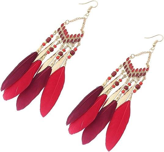 Bobury Long collier de plumes de style boh/ème de femmes collier pendentif