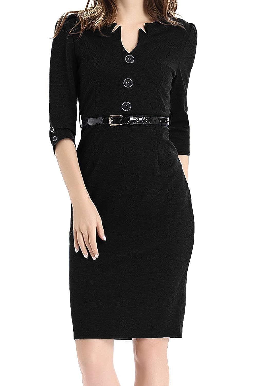 1169f55b547 Jusfitsu Women s Vintage V-Neck 3 4 Sleeve Belt Business Pencil Dress at  Amazon Women s Clothing store