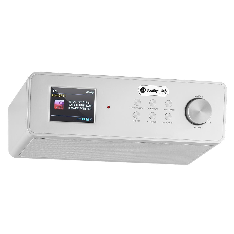 auna KR-200 Küchenradio Unterbauradio DAB/DAB+ Tuner UKW-Empfänger Spotify Connect 10 Senderspeicher Wifi Aux Equalizer Dual-Alarm Schlummerfunktion Fernbedienung Silber product image