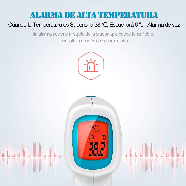 Term/ómetro Digital con Pantalla LCD Alarma de Alta Temperatura Term/ómetro Infrarrojo de Entrega R/ápida Term/ómetro IR sin Contacto para Beb/és Adultos Term/ómetro Infrarrojo de Frente