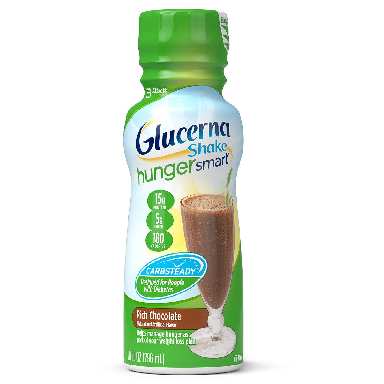 Glucerna Hunger Smart Shake, to Help Manage Blood Sugar, Rich Chocolate, 10 fl oz, 24 Count