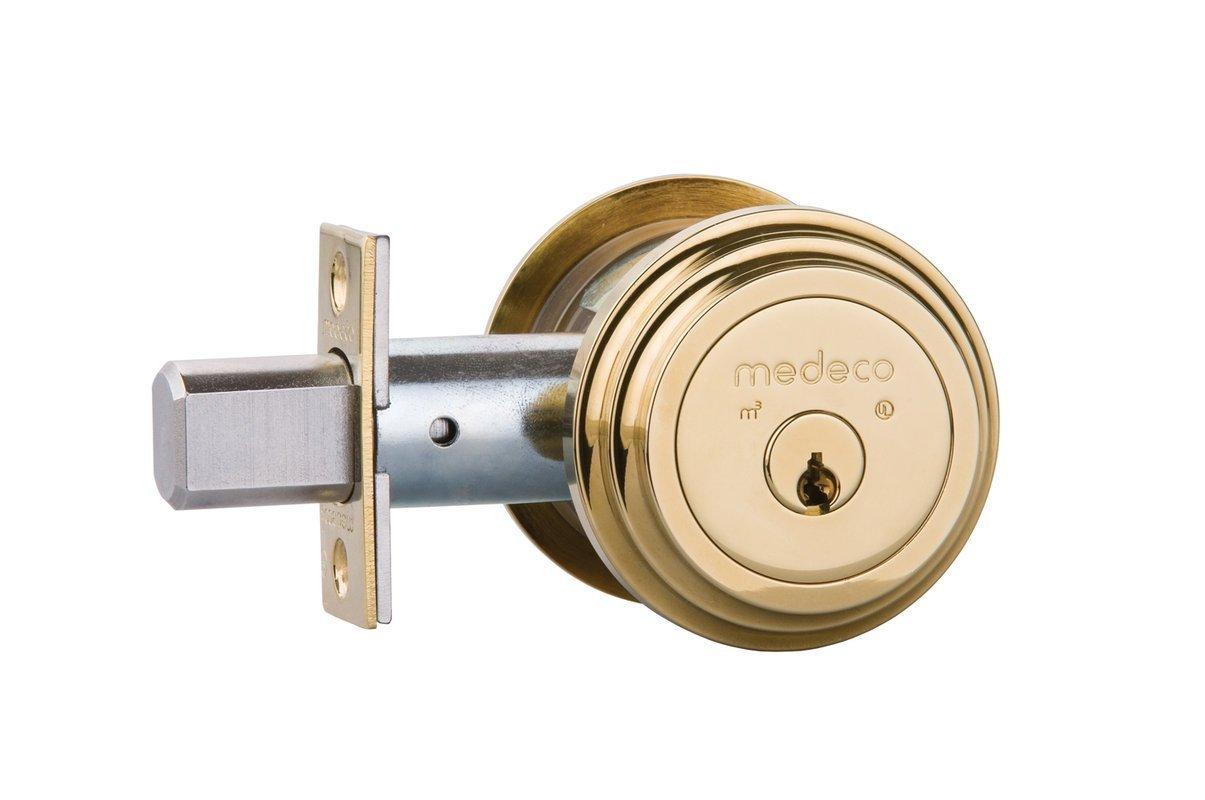 Medeco 11R522-05-1 Maxum Deadbolt, Double Cylinder, Polish Brass Finish, 2-3/4'' Backset, 1-1/8'' Faceplate