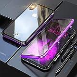 JCGOOD iPhone XS ケース iPhoneX カバー アルミ バンパー 透明 両面 強化ガラス 360°全面保護 アイフォンX/XS カバー マグネット式 ワイヤレス 充電対応 軽量 薄型 擦り傷防止 耐衝撃 紫+黒