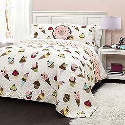 4 Piece Girls Pink Dessert Theme Quilt Full Queen Set, Cute Girly All Over Ice Cream Cones Doughnut Cup Cake Bedding, Fun Sweet Treat Doughnuts Cupcake Desserts Themed Pattern Purple Blue Yellow Brown