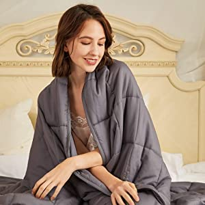 "Hiseeme Weighted Blanket Adult 20 lbs (60""x80"", Queen Size Bed) Comfortable and Provide a Good Sleep (Dark Grey)"