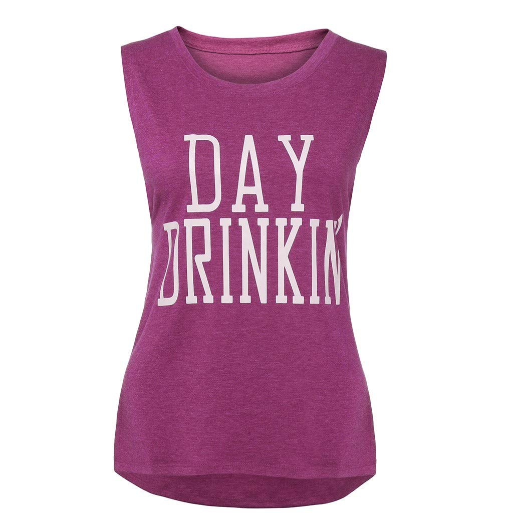 Tank Tops for Women Sleeveless Letter Print Summer Slim Fit Casual T-Shirt Top Blouse (XXL, Wine)