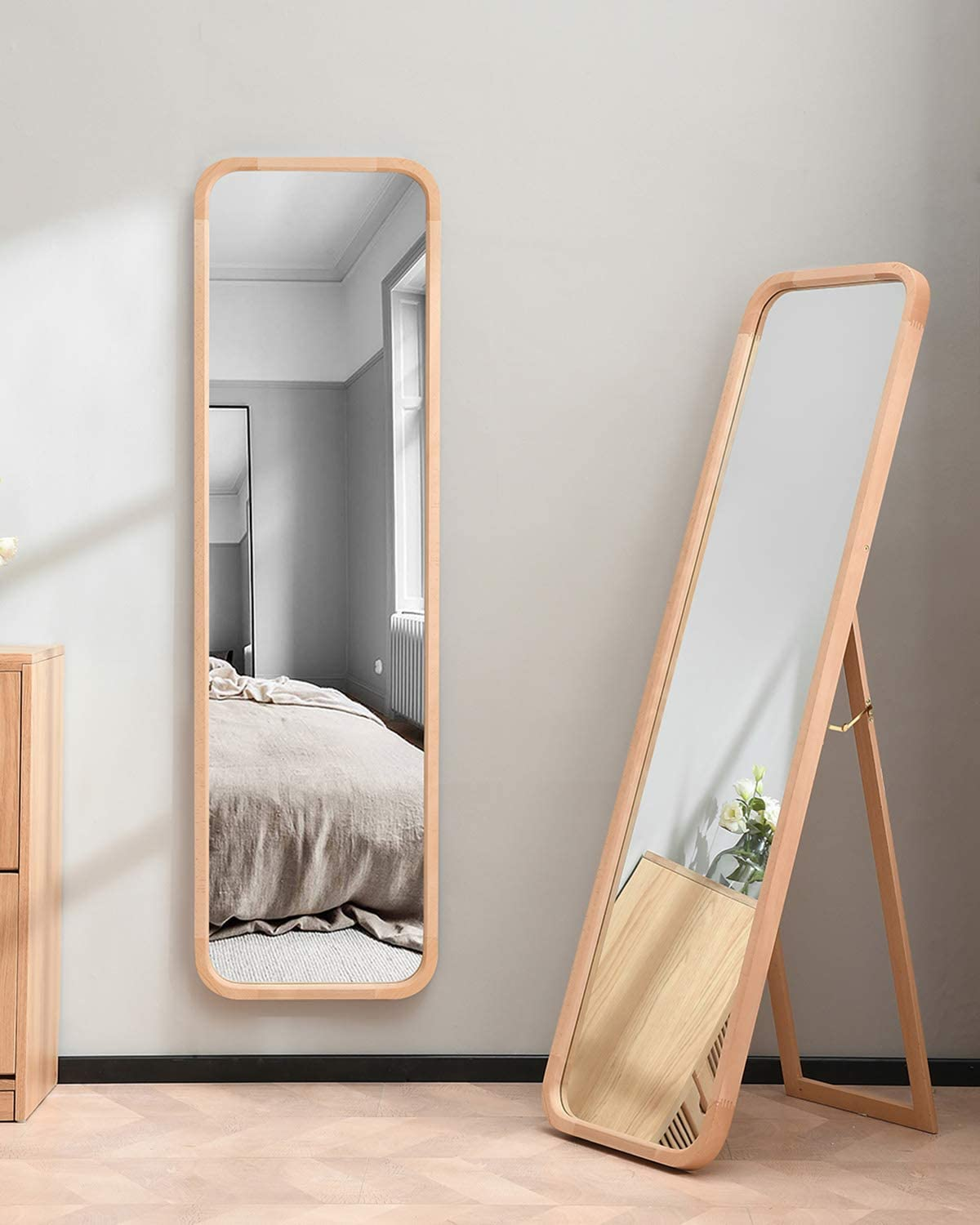 "TinyTimes 8""×8"" Wooden Full Length Mirror, Floor Mirror with Stand,  Beech, Rounded Corner, Rustic Mirror, Free Standing or Wall Mounted, for"
