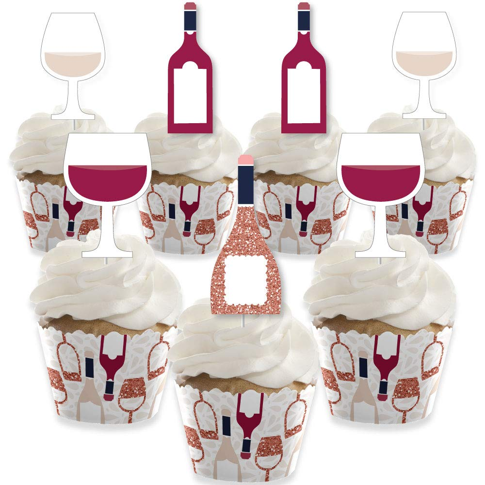 But First, Wine - Cupcake Decoration - Wine Tasting Party Cupcake Wrappers and Treat Picks Kit - Set of 24 by Big Dot of Happiness