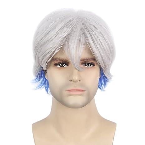 STfantasy Peluca macho para hombre Parzival plata blanco Ombre azul niños pelo sintético ondulado de capas