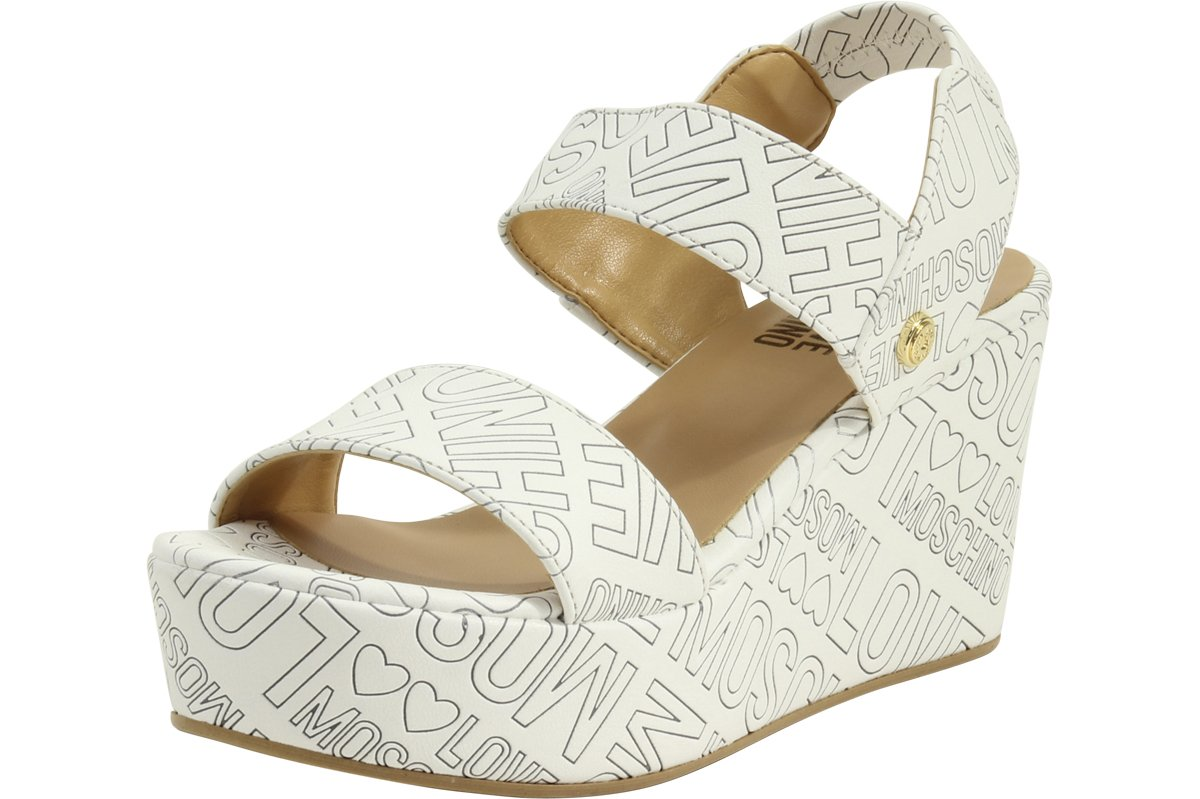 Love Moschino Women's Embossed Logo White Wedge Heels Sandals Shoes Sz: 7