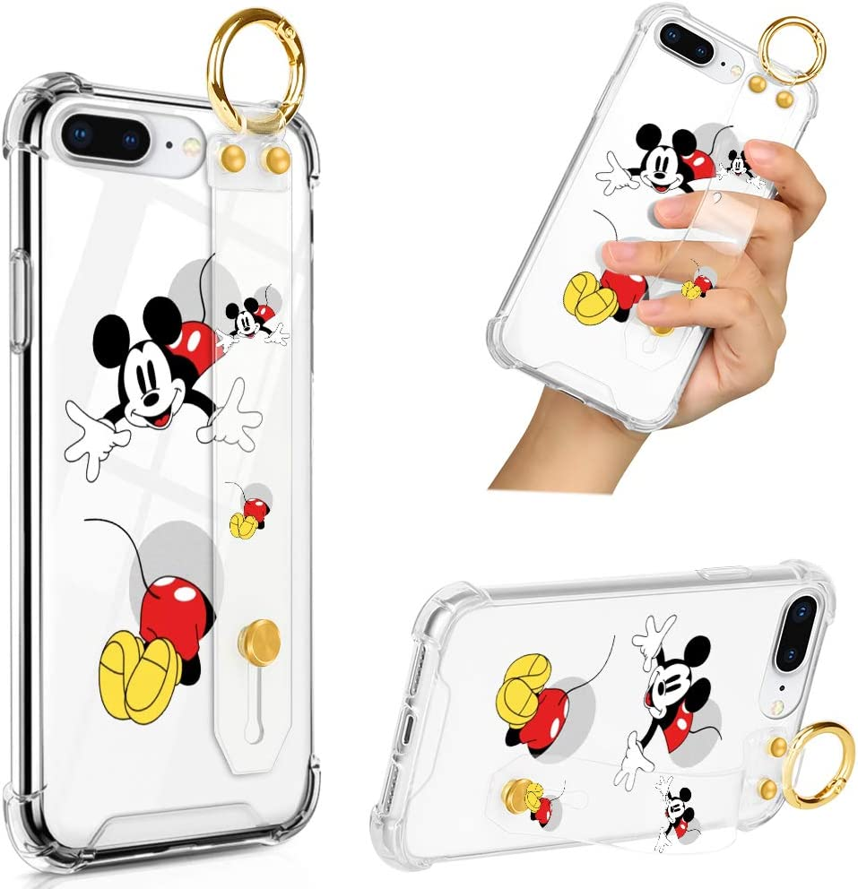 DISNEY COLLECTION iPhone 7 Plus iPhone 8 Plus Clear Case with Wrist Strap/Lanyard, Slim Anti-Yellow Full-Body Drop Protection Cover Design Mickey Through Cave Case for Boys&Girls