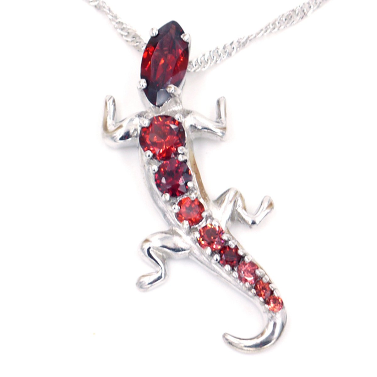 N1026G-Garnet Luxury Lizard Pendent Necklace Anniversary Mothers Day Birthday Gift Present Designer Jewelry