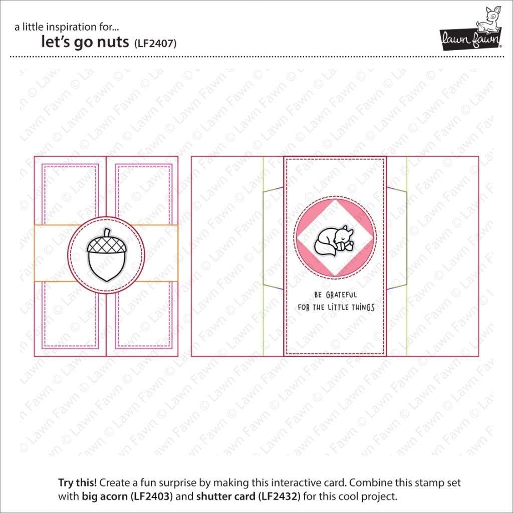 Lawn Fawn LF2407 Lets Go Nuts 4X6 Clear Stamp Set