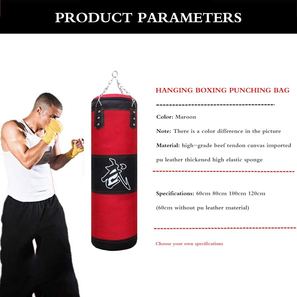 For Training Fitness Kickboxing Karate Size:100cm Muay Thai Waterproof Canvas Filled Punching Bag Sandbags With Hanging Chain Outdoor Large Adult Boxing Heavy Training Bag