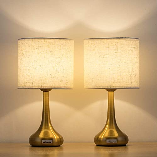 HAITRAL Gold Table Lamps Set of 2 – Small Desk Lamp with Linen Fabric Shade Metal Base, 13.8 Inches Stylish Bedside Lamps for Bedroom, Living Room, Family Room, Hotel, Den – Gold HT-TH37-16X2